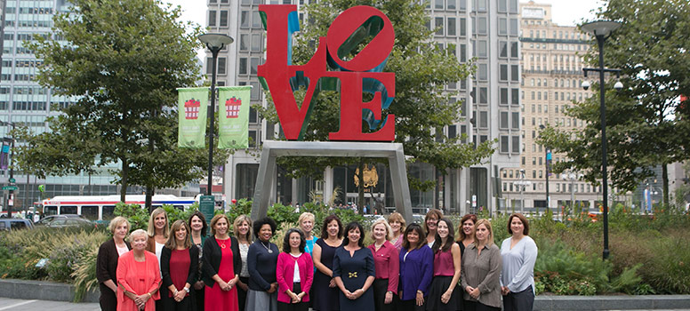 HS Business Partners Staff in front of Philly Love Statue